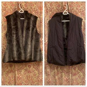 {KRISTEN BLAKE} Reversible Black and Fur Vest